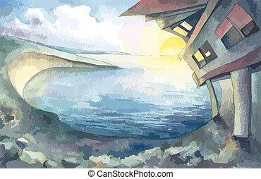 Fantasy land, watercolor illustration, vector