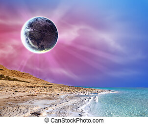 Fantasy Landscape - Abstract sunset landscape with big moon...