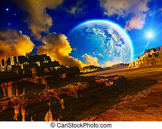 Fantasy landscape - apocalypse, beautiful, city, cloud,...