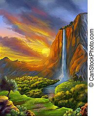 Fantasy landscape at sunset
