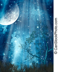 fantasy landscape with big moon in the forest