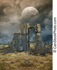 Fantasy landscape - Fantasy Landscape in a field with ruins