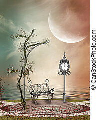 Fantasy Landscape in the lake with flowers and airon chair