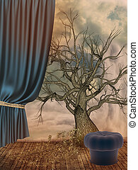 Fantasy Landscape in the sky with stool and tree
