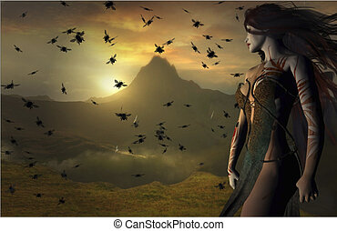 Fantasy Landscape - Fantasy landscape of a woman looking...
