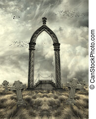 Fantasy landscape - Fantasy Landscape with arch and graves