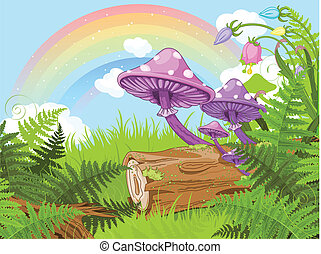 Fantasy landscape - Fantasy landscape with mushrooms and...