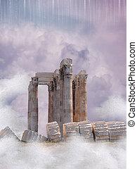Fantasy landscape - Fantasy Landscape with old structure and...