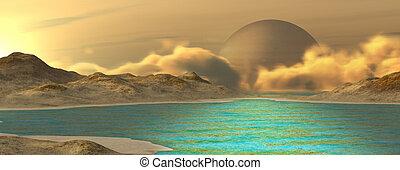 Fantasy landscape - Imaginary landscape on a distant planet....