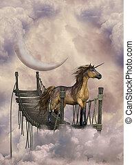 fantasy landscape inthe heaven with unicorn