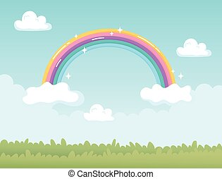 fantasy landscape nature rainbow with clouds cartoon