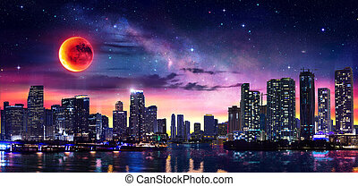 Fantasy Landscape Of Miami Downtown With Milky Way And Red Moon