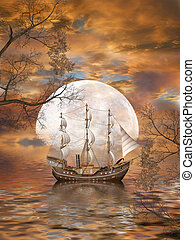 Fantasy Landscape in the ocean with old ship