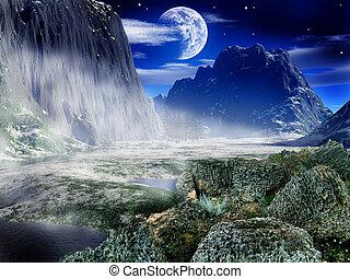 Fantasy landscape - sky, moon, fear, high, blue, peak, stone...
