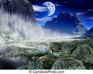 Fantasy landscape - sky, moon, fear, high, blue, peak,...