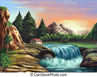 Fantasy landscape - Waterfall in an imaginary landscape at...