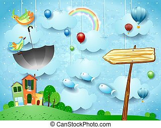 Fantasy landscape with arrow sign and flying umbrella and fishes