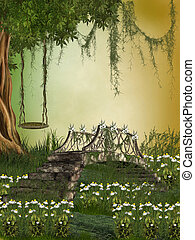 Fantasy Landscape with bridge and hammock in the tree