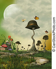 Fantasy Landscape with butterfly and mushrooms