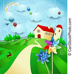 Fantasy landscape with farm, pinwheels and hanging clouds