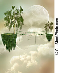 Fantasy Landscape with floating island and bridge