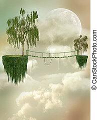 Fantasy Landscape with floating island and bridge
