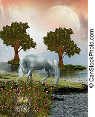 Fantasy Landscape with horse and two trees