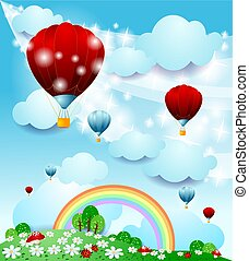 Fantasy landscape with hot air balloon