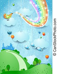 Fantasy landscape with rainbow colors, musical notes, bird and flying fishes
