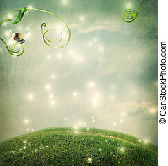 Fantasy landscape with small snail - Fantasy landscape with ...