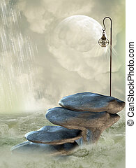 Fantasy Landscape with stone stairway in the ocean