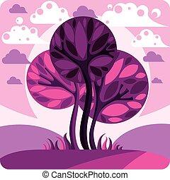 Fantasy landscape with stylized tree, peaceful scene. Season theme vector illustration, ecology idea image.
