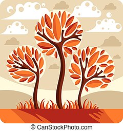Fantasy landscape with stylized tree, peaceful scene. Season theme vector illustration, ecology idea image.