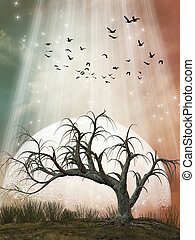 Fantasy Landscape with tree and a big moon