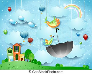 Fantasy landscape with village and flying umbrella and fishes