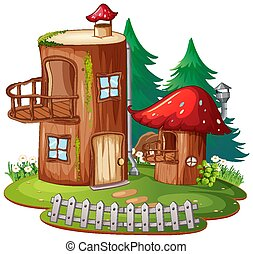 Fantasy log house on white background