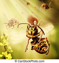 Fantasy magic world. Woman sits astride a wasp and controls an army of wasps. Focus on a girl eyes