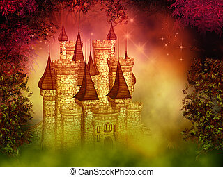 fantasy magical castle - illustration of the magical dreamy...