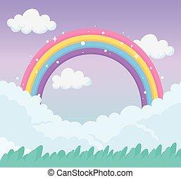 fantasy magical meadow landscape rainbow on sky