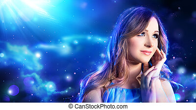 fantasy makeup woman in fairy night