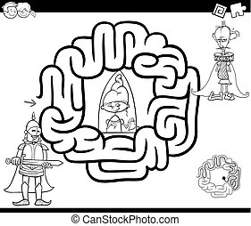 fantasy maze coloring page - Black and White Cartoon...