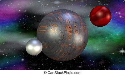 Fantasy metallic planet rotating in cosmos with her month, another red planet exploding in space, flying particles