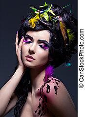 fantasy., moda, femininas, com, coloridos, penas, -, luminoso, maquilagem