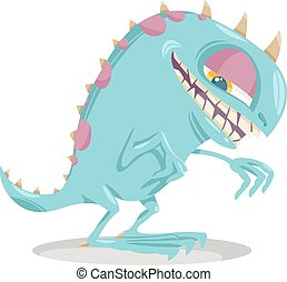 Cartoon Illustration of Funny Monster or Fright or Boogie