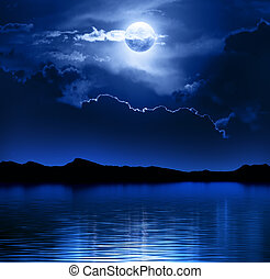 Fantasy Moon and Clouds over water (Elements of this image ...