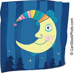 Fantasy moon - Night moon – mystical symbol. Cartoon...