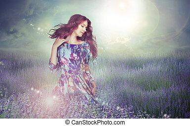 fantasy., mujer, en, enigmático, pradera, encima, cielo nublado
