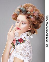 fantasy., mulher, com, criativo, maquilagem, e, tingido, cabelos