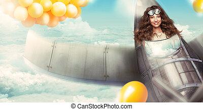 fantasy., mulher feliz, em, cabina piloto, de, aeronave, tendo divertimento