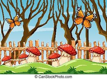 Fantasy mushroom butterfly in the garden sence cartoon style